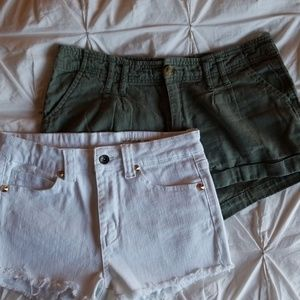 Two Love Culture Shorts Olive & White